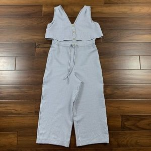 Zara Blue and White Seersucker Striped Jumpsuit